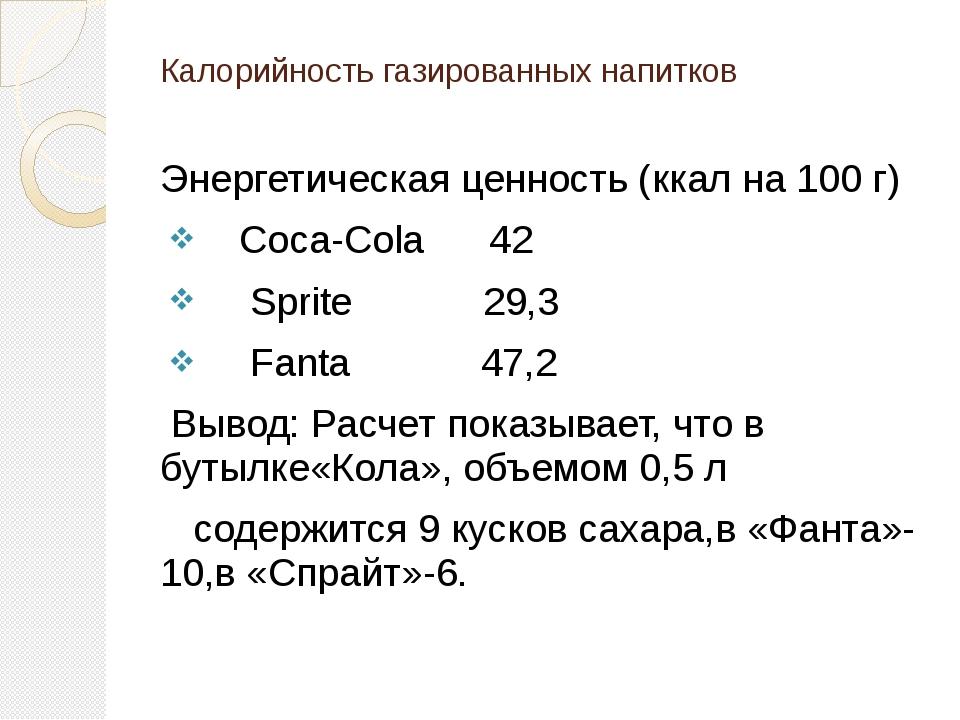 Калорийность газированных напитков Энергетическая ценность (ккал на 100 г) ...