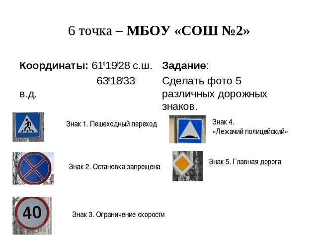 6 точка – МБОУ «СОШ №2» Координаты: 61019I28II с.ш. 63018I33II в.д. Задание:...