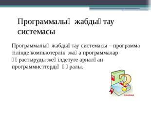 Программалық жабдықтау системасы Программалық жабдықтау системасы – программа