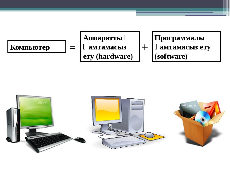 Компьютер = Аппараттық қамтамасыз ету (hardware) + Программалық қамтамасыз ет...