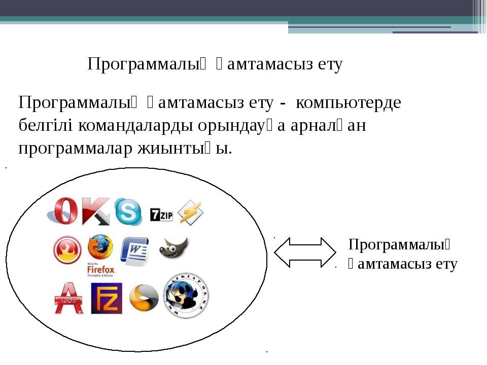 Программалық қамтамасыз ету Программалық қамтамасыз ету - компьютерде белгілі...