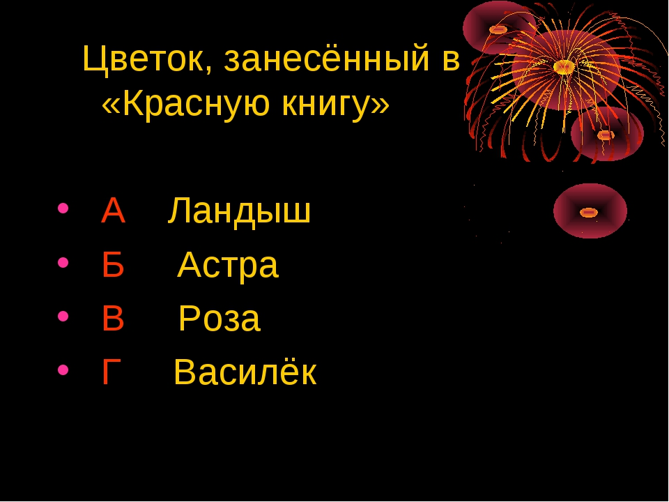 Цветок, занесённый в «Красную книгу» А Ландыш Б Астра В Роза Г Василёк