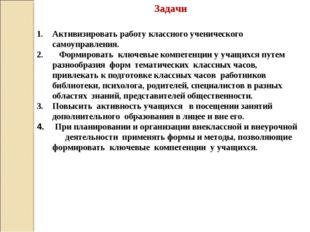 Задачи Активизировать работу классного ученического самоуправления. Формирова