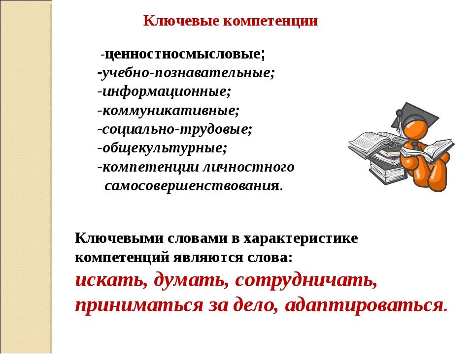 Ключевыми словами в характеристике компетенций являются слова: искать, думать...