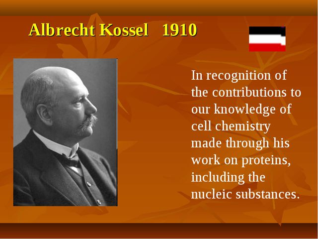 Albrecht Kossel 1910 In recognition of the contributions to our knowledge of...