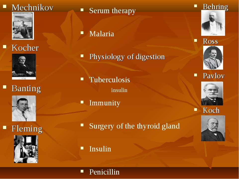 Mechnikov Kocher Banting Fleming Behring Ross Pavlov Koch Serum therapy Malar...