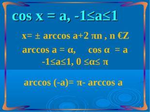 сos х = а, -1≤а≤1 х= ± arccos а+2 πn , n €Z arccos а = α, сos α = а -1≤а≤1, 0