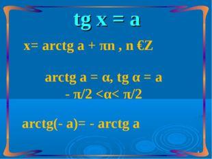 tg х = а аrctg а = α, tg α = а - π/2
