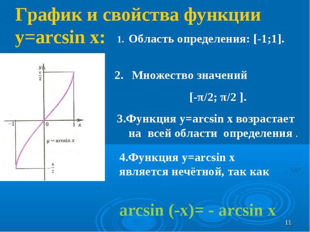 График и свойства функции y=arcsin x: Область определения: [-1;1]. Множество...