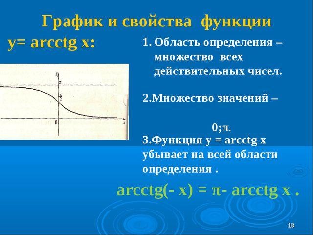 График и свойства функции у= arcсtg x: Область определения – множество всех д...