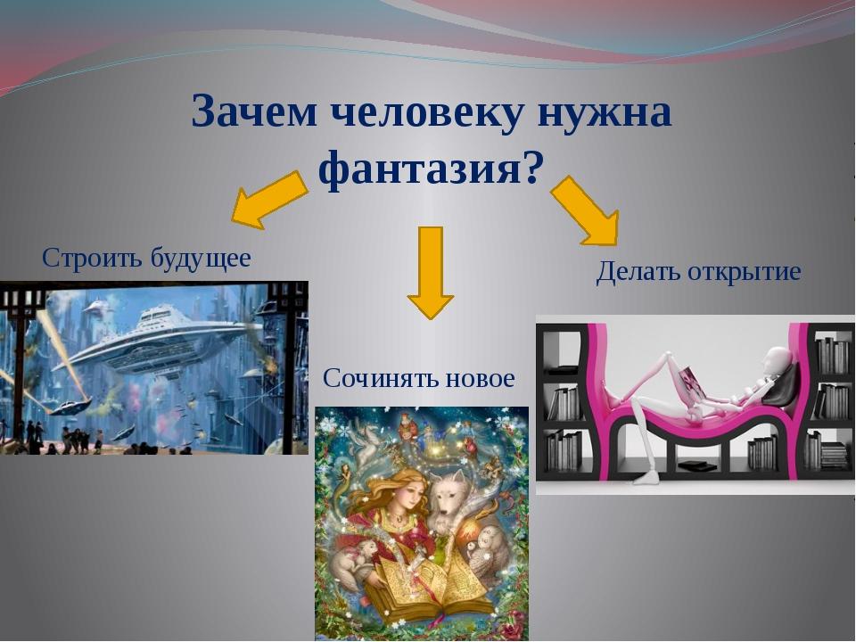 Зачем человеку нужна фантазия? Строить будущее Сочинять новое Делать открытие