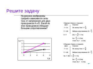 На рисунке изображены графики зависимости силы тока от напряжения для двух