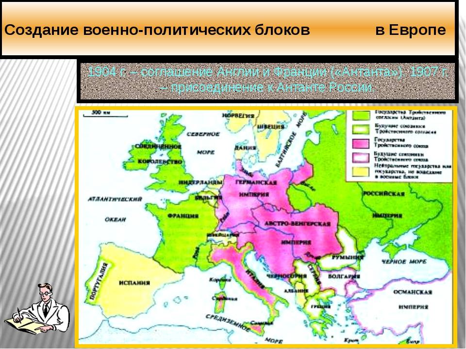 Создание военно-политических блоков в Европе 1904 г. – соглашение Англии и Фр...