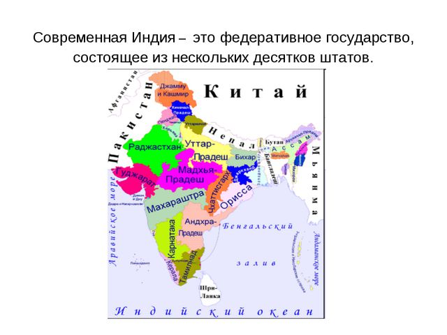 Современная Индия – это федеративное государство, состоящее из нескольких дес...