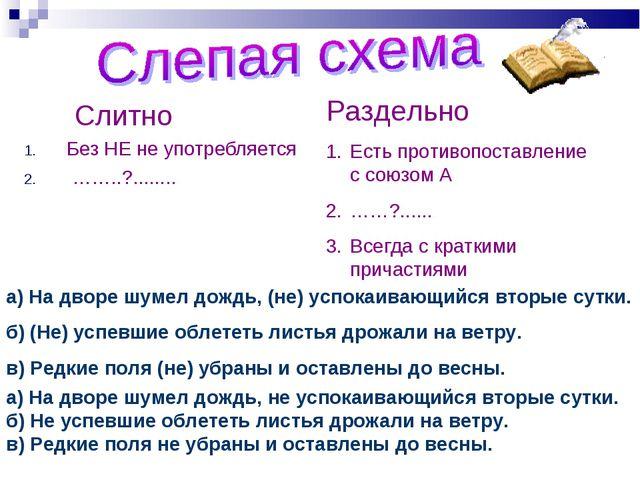 Слитно Без НЕ не употребляется ……..?........ Раздельно Есть противопоставле...