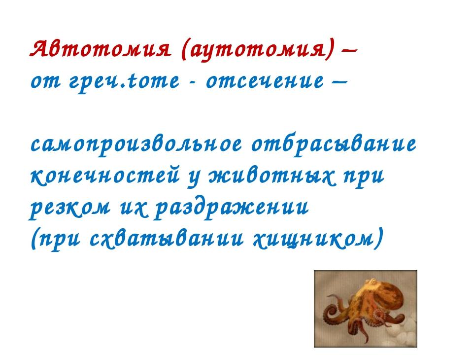 Автотомия (аутотомия) – от греч.tome - отсечение – самопроизвольное отбрасыва...