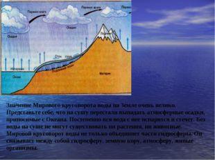 Значение Мирового круговорота воды на Земле очень велико. Представьте себе,