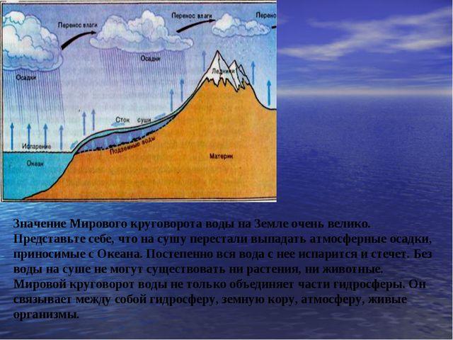 Значение Мирового круговорота воды на Земле очень велико. Представьте себе,...