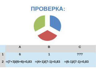 ПРОВЕРКА:  A B C 1 6 1 ??? 2 =(7+3)/(6+6)=0,83 =(4+1)/(7-1)=0,83 =(6-1)/(7-1