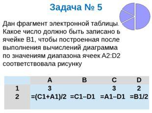 Задача № 5 Дан фрагмент электронной таблицы. Какое число должно быть записано