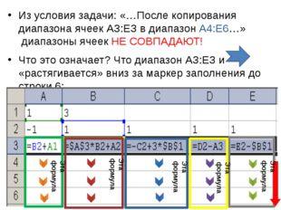 Из условия задачи: «…После копирования диапазона ячеек АЗ:ЕЗ в диапазон А4:Е6