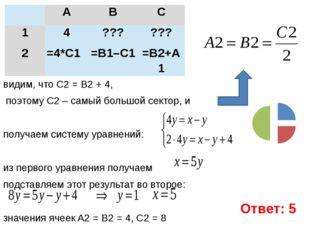 видим, что C2 = B2 + 4, поэтому C2 – самый большой сектор, и  получаем систе