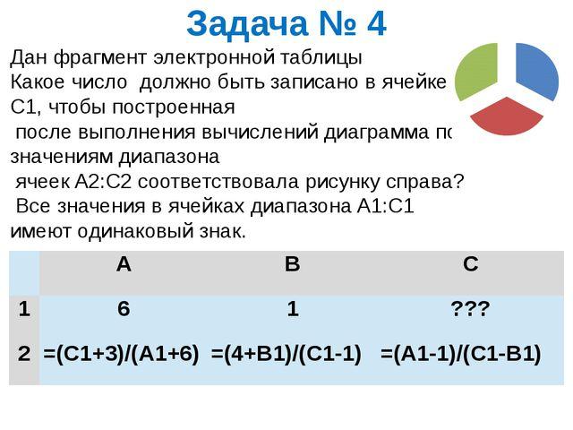 Задача № 4 Дан фрагмент электронной таблицы Какое число должно быть записано...