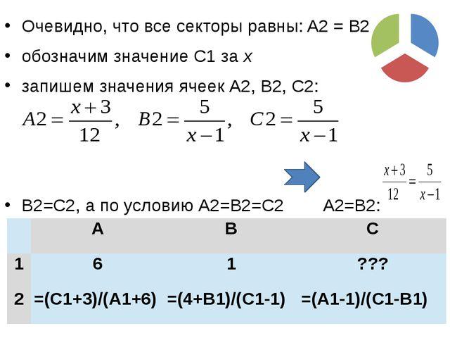 Очевидно, что все секторы равны: A2 = B2 = C2 обозначим значение C1 за x запи...