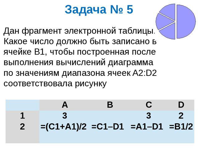 Задача № 5 Дан фрагмент электронной таблицы. Какое число должно быть записано...