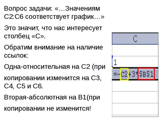 Вопрос задачи: «…Значениям С2:С6 соответствует график…» Это значит, что нас и...