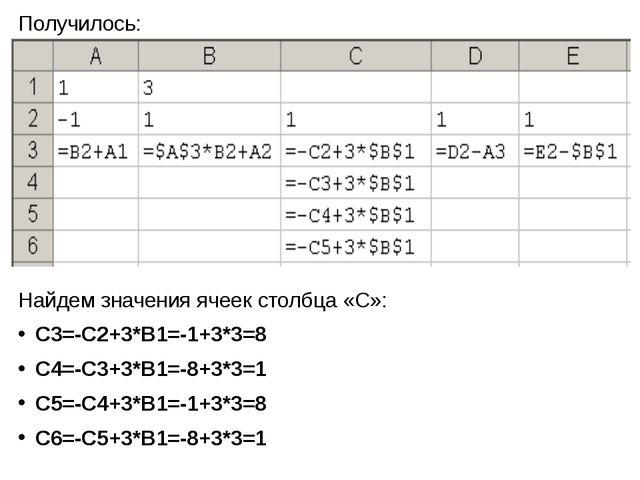 Получилось: Найдем значения ячеек столбца «С»: С3=-С2+3*В1=-1+3*3=8 С4=-С3+3*...