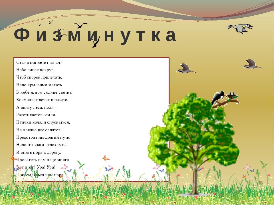 Ф и з м и н у т к а Стая птиц летит на юг, Небо синее вокруг. Чтоб скорее при...