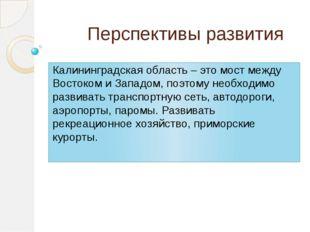 Перспективы развития Калининградская область – это мост между Востоком и Зап