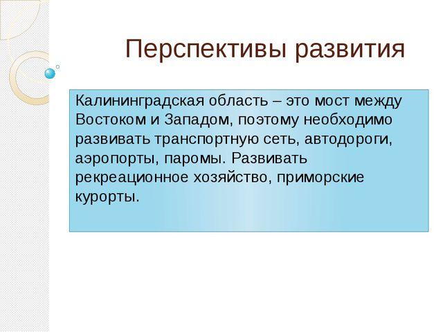 Перспективы развития Калининградская область – это мост между Востоком и Зап...