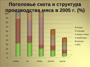 Поголовье скота и структура производства мяса в 2005 г. (%)