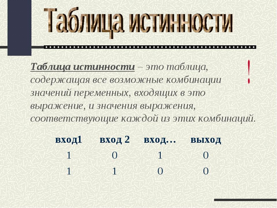 Таблица истинности – это таблица, содержащая все возможные комбинации значени...
