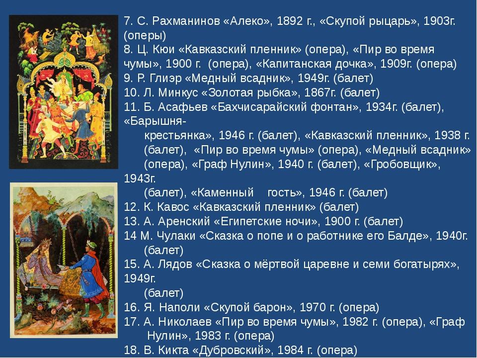 7. С. Рахманинов «Алеко», 1892 г., «Скупой рыцарь», 1903г. (оперы) 8. Ц. Кюи...