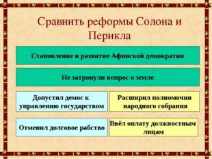 Сравнить реформы Солона и Перикла Становление и развитие Афинской демократии