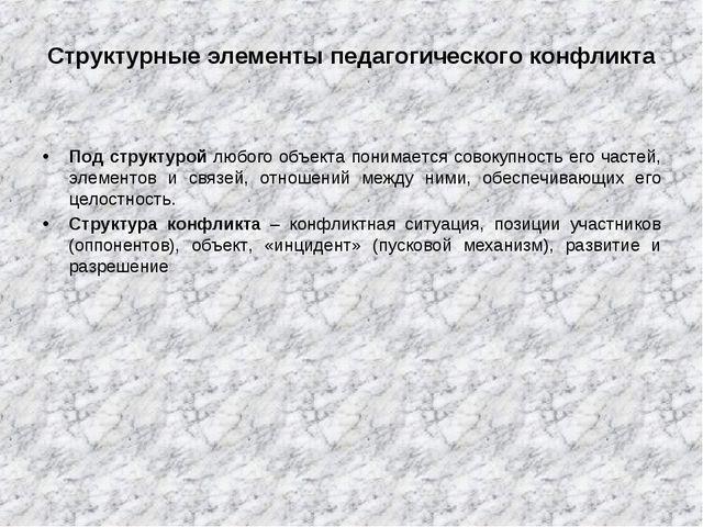 Структурные элементы педагогического конфликта Под структурой любого объекта...