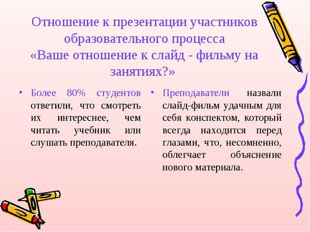 Отношение к презентации участников образовательного процесса «Ваше отношение...