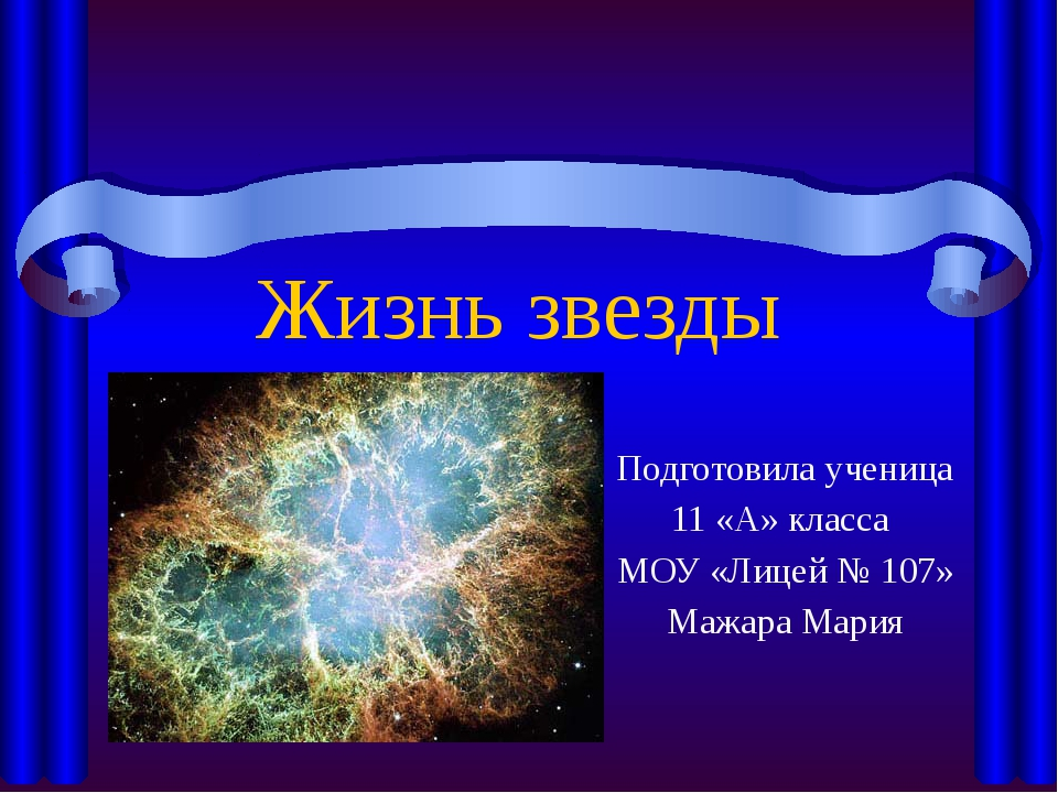 Жизнь звезды Подготовила ученица 11 «А» класса МОУ «Лицей № 107» Мажара Мария