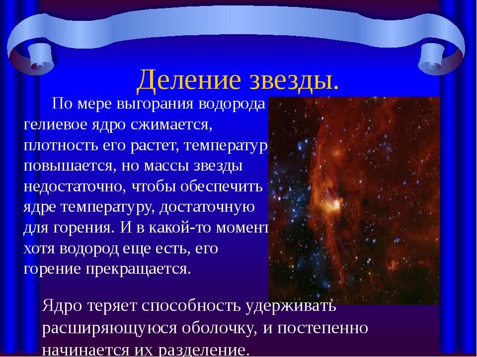 Деление звезды.  По мере выгорания водорода гелиевое ядро сжимается, плотнос...