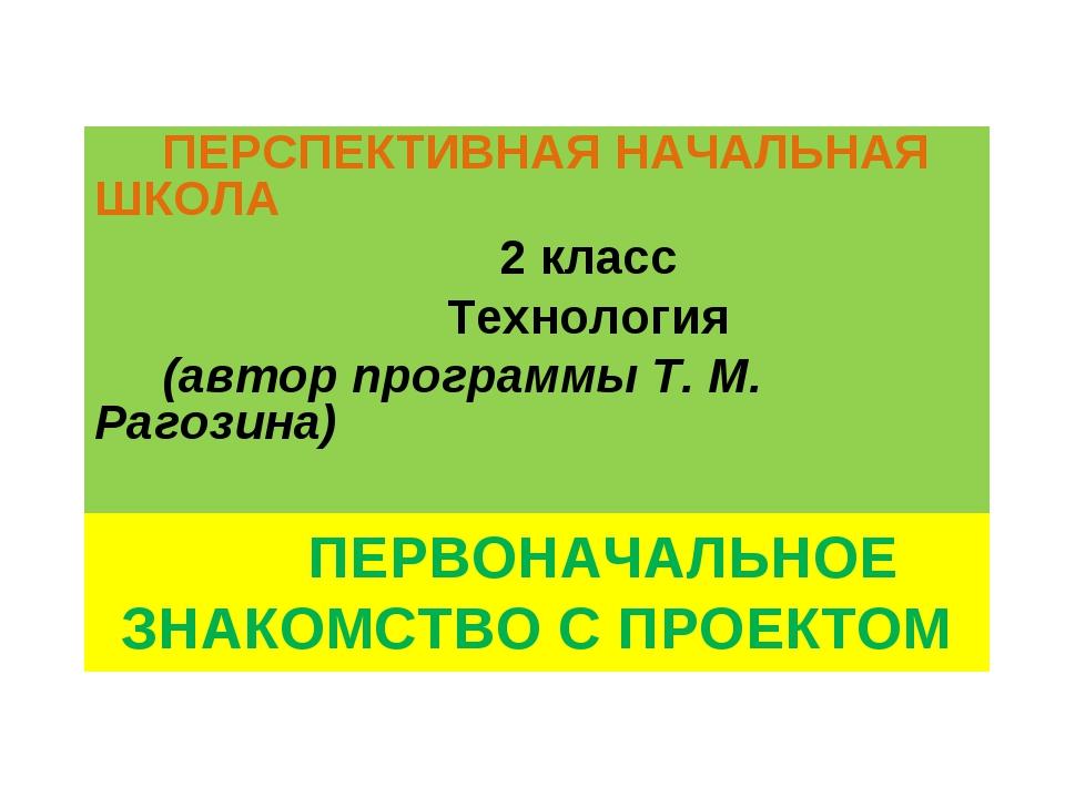 ПЕРВОНАЧАЛЬНОЕ ЗНАКОМСТВО С ПРОЕКТОМ ПЕРСПЕКТИВНАЯ НАЧАЛЬНАЯ ШКОЛА 2 класс Т...