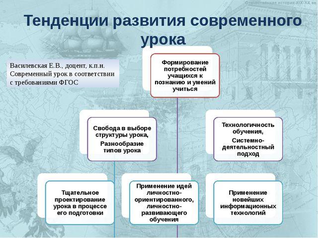 Тенденции развития современного урока Василевская Е.В., доцент, к.п.н. Соврем...