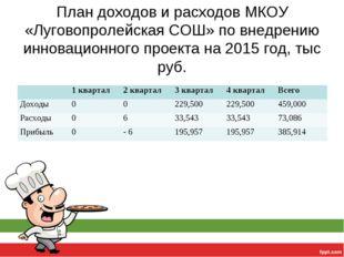 План доходов и расходов МКОУ «Луговопролейская СОШ» по внедрению инновационно