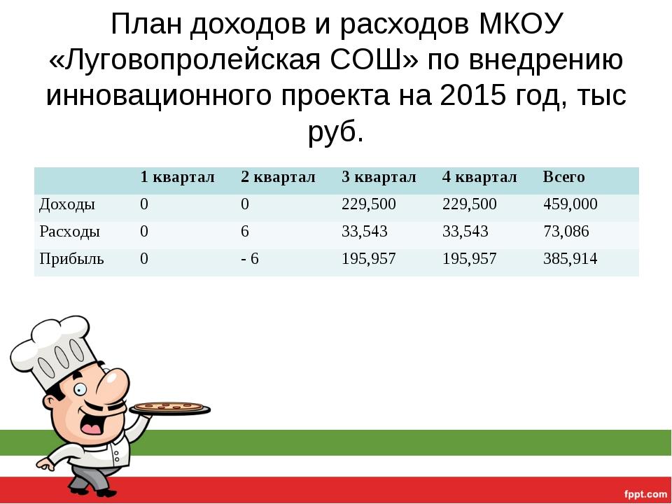 План доходов и расходов МКОУ «Луговопролейская СОШ» по внедрению инновационно...