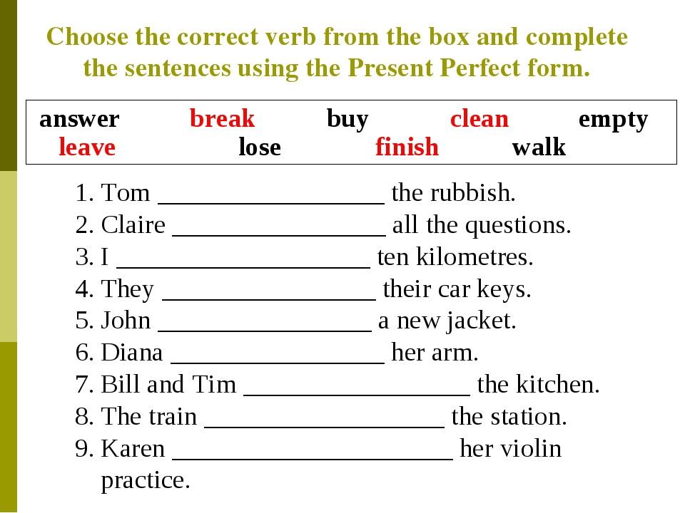 Choose the correct verb from the box and complete the sentences using the Pre...