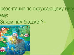 Презентация по окружающему миру на тему: «Зачем нам бюджет?»
