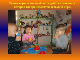 Сюжет игры – это та область действительности, которая воспроизводится детьми