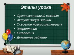 Этапы урока: Организационный момент Актуализация знаний Освоение нового матер